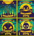 Halloween Posters set night holiday vector image vector image