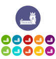 history castle icons set color vector image vector image