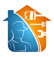 home repairs with tools and repairman vector image