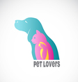 image of an dog cat and bird vector image vector image