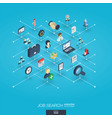 job search integrated 3d web icons digital vector image vector image