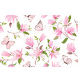 magnolia watercolor floral seamless pattern vector image