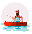 man in boat try to cach a fish vector image vector image
