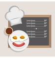 menu breakfast restaurant fried egg sausage and vector image
