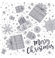 merry christmas greeting card with gift vector image vector image