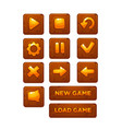 mobile game ui collection icons and buttons vector image