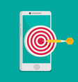 mobile marketing and targeting smartphone with vector image vector image