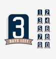 number days left label vector image