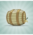 Old wooden barrel filled with natural wine or beer vector image vector image
