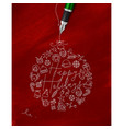 pen line drawing christmas tree toy ball red vector image vector image