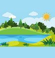 pine trees and the lake at day time vector image vector image