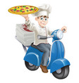 pizza chef moped delivery vector image vector image