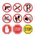 prohibition signs set safety information vector image vector image