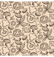 Seamless pattern hand drawn delicious pizza with vector image vector image