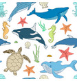seamless pattern of cartoon sea animals vector image vector image