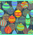 seamless pattern with christmas balls hanging vector image