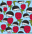 seamless pattern with cute hedgehogs and red roses vector image vector image