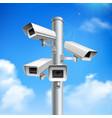 security cameras realistic composition vector image