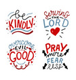 set 4 hand lettering christian quotes be kindly vector image vector image