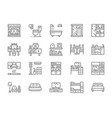 set furniture line icons fireplace toilet vector image