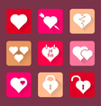 set heart icons flat design vector image vector image