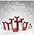 set of christmas decorations balls and gift box vector image