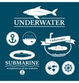 Set of labels with underwater vector image vector image