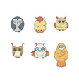 Set of lined owl logos and emblems collection in vector image vector image