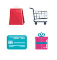 shopping on line set icons vector image
