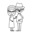 sketch silhouette full body couple elderly of vector image vector image