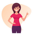 smiling cheerful young woman shows a thumb up vector image