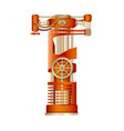 the letter t of mechanic alphabet vector image vector image