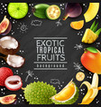tropical fruits chalk board background vector image