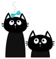 two black cat set looking up to bow friends vector image vector image
