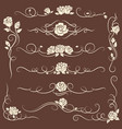 vintage flourish ornaments with roses vector image vector image