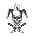 vintage monochrome evil jester skull vector image vector image
