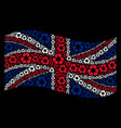 waving united kingdom flag mosaic of recycle vector image