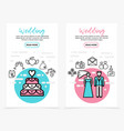 wedding line icons vertical banners vector image vector image