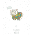 Winter card with cute sheep in knitted sweater vector image