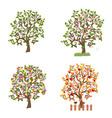 set of decorative trees seasons vector image