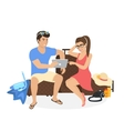 Young couple sitting on the luggage and using vector image