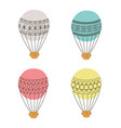 Aerostat air balloon outline colored icon set