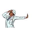 african doctor man medicine shame denial gesture vector image vector image