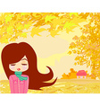 beautiful girl in autumn vector image vector image