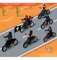 bikers riding on highway design vector image vector image