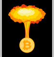 bitcoin explosion big cloud crypto currency vector image vector image
