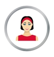 Black hair woman icon in flat style isolated on vector image vector image