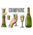 bottle champagne explosion and hand hold glass vector image