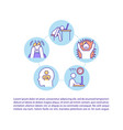 burnout symptom concept line icons with text vector image