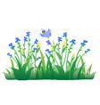 cartoon blue bird flying on flowers and grass vector image vector image